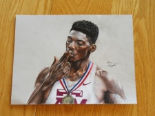 Ben's colored pencil original drawing of F.K. an olympic runner who hosted a contest Ben won in November of 2017.