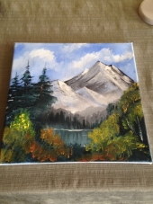 Ben's first Oil Painting done in Bob Ross Style
