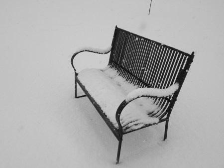 snowy bench2018blackandwhite