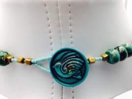 button clasp chrsycolla pendant