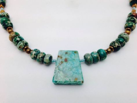 Chrysocolla Stone Pendant Necklace 3