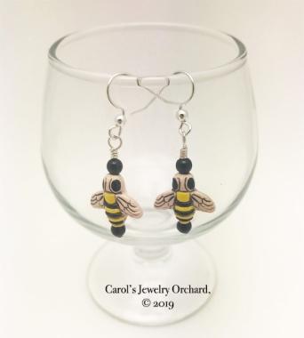 Bee Earrings on Sterling III