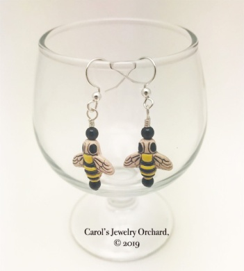 Bee Earrings on Sterling III